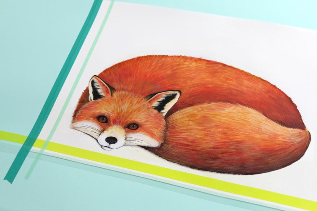 Renard, peinture, illustration, Miss-etc