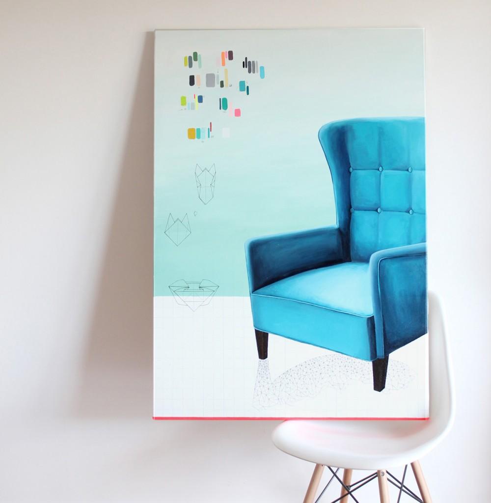 Peinture, tableau, fauteuil, Miss-etc