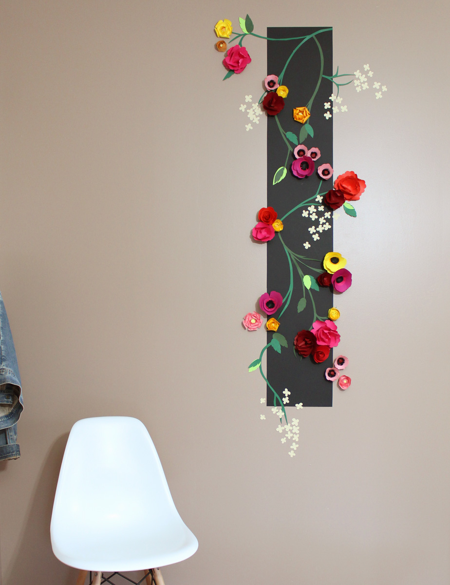 tapisserie en relief fleurs en papier diy dcoration murale