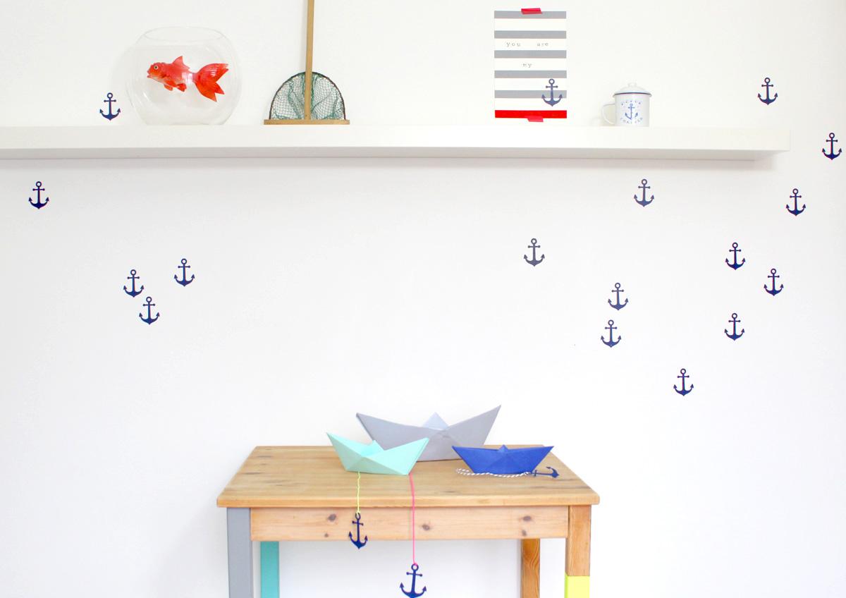 ancres, stickers, petit bateau