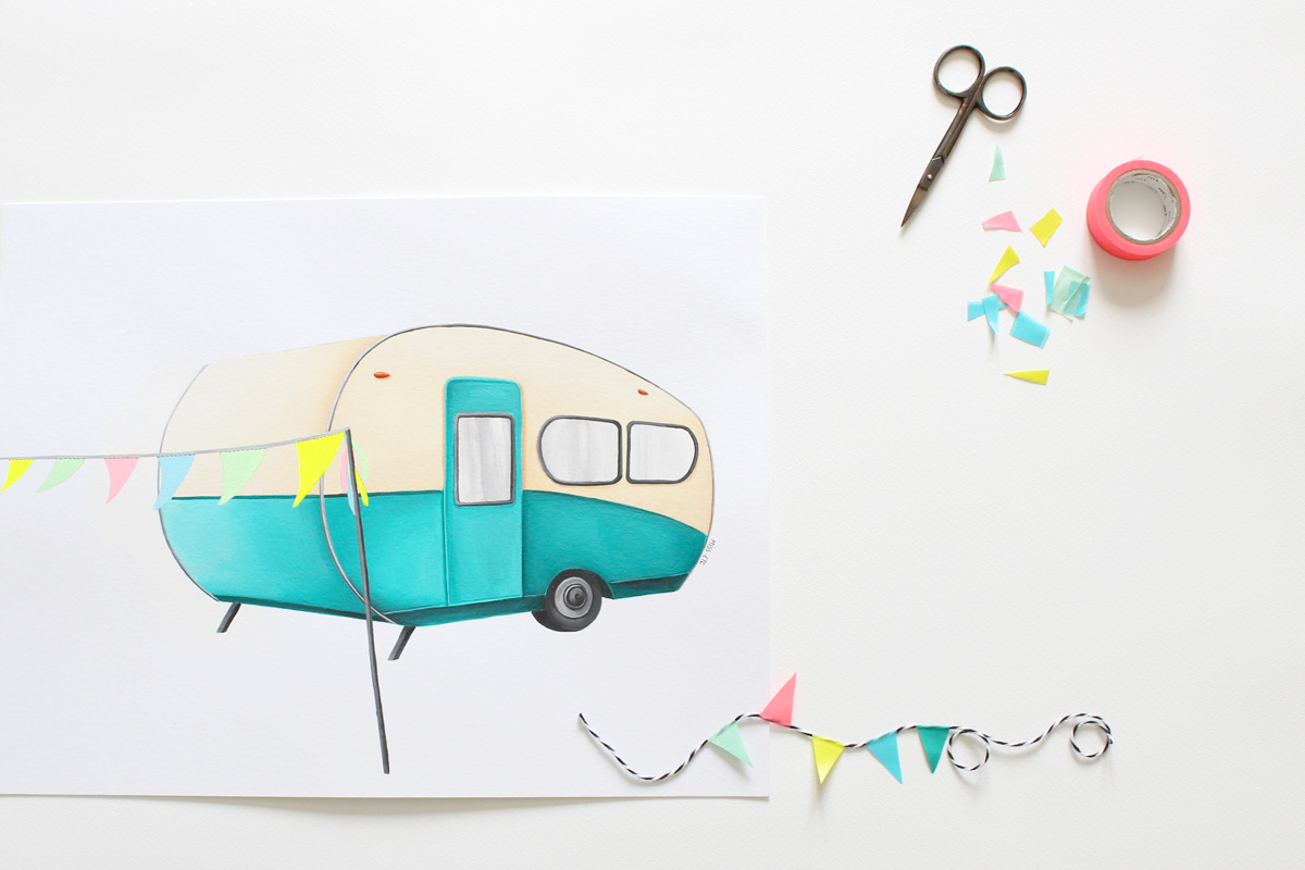 illustration by Miss-etc, caravane, voiture, vintage