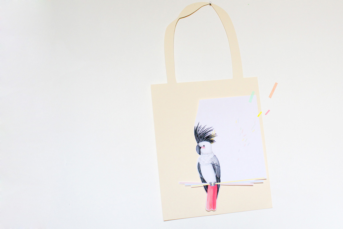 Tote bag, perroquet, illustration Miss-etc