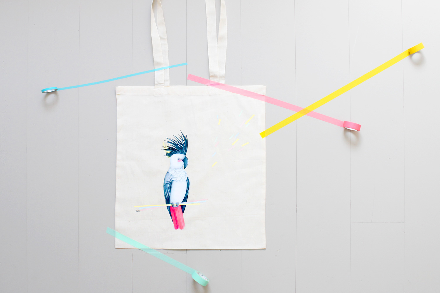 Tote bag Miss-etc; perroquet
